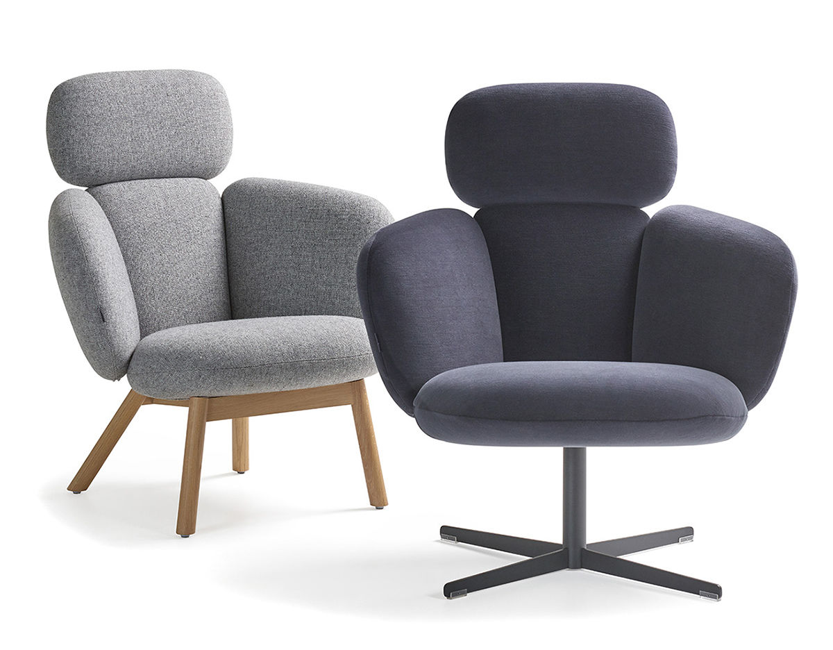 Bras Highback Wood Base Lounge Chair