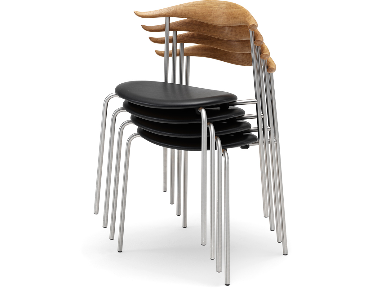 Hans Wegner Ch88 Stacking Chair With Upholstered Seat