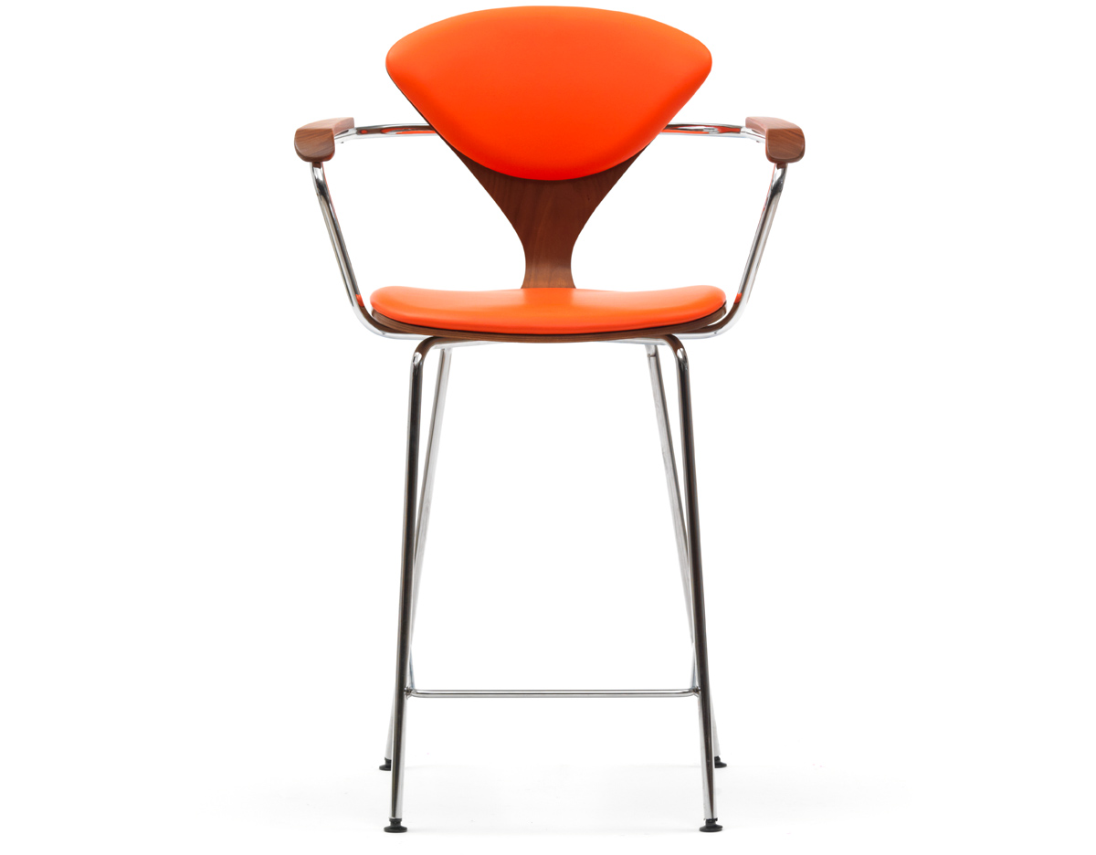 Cherner Metal Leg Stool With Arms Amp Upholstered Seat