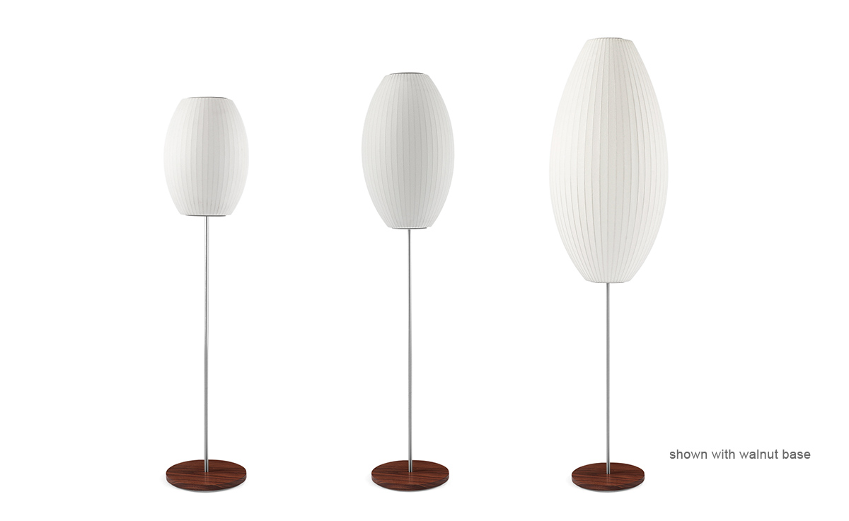 Nelson™ Cigar Bubble Floor Lamp On Lotus Stand - hivemodern.com