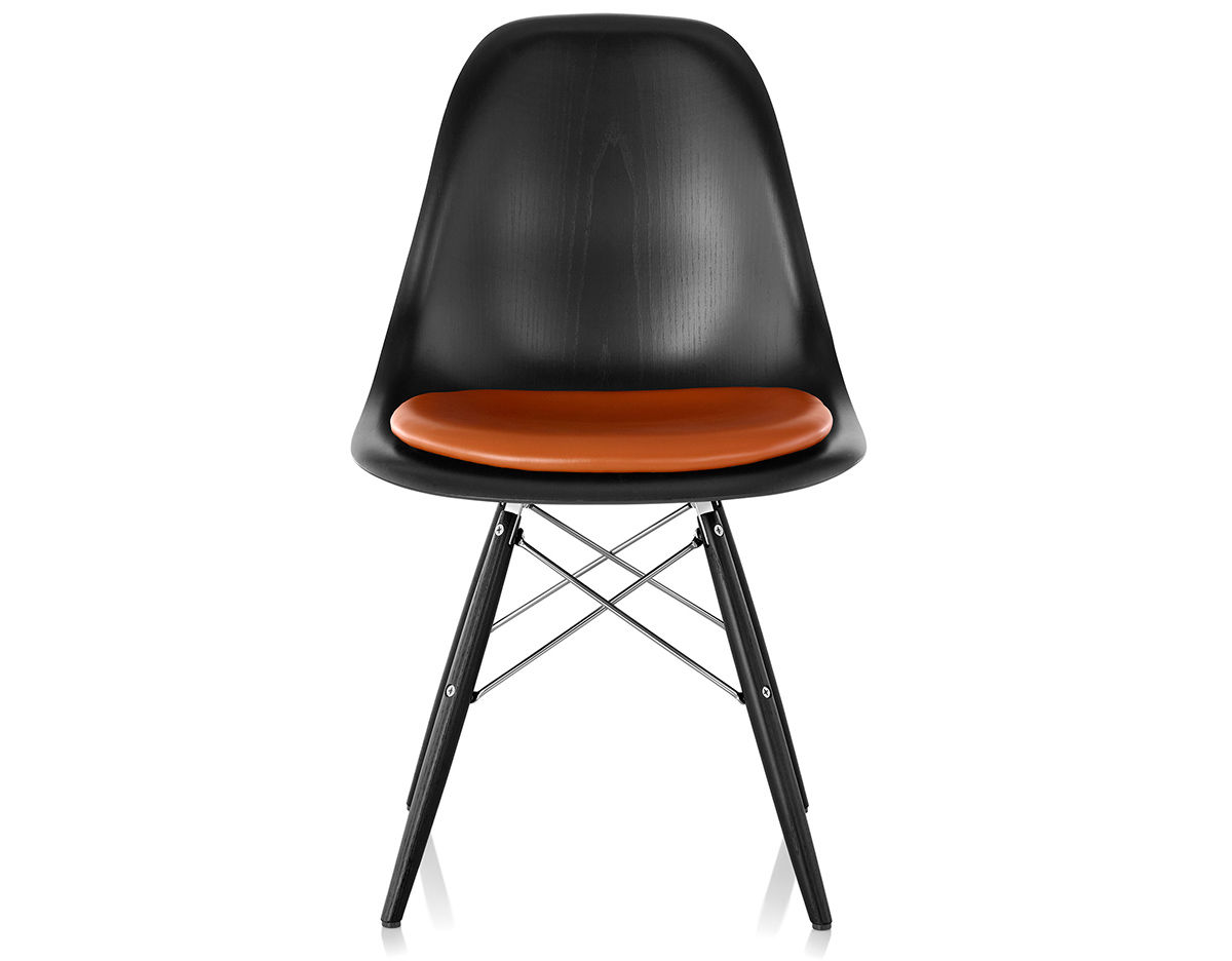 Beau Eames® Dowel Base Wood Side Chair With Seat Pad