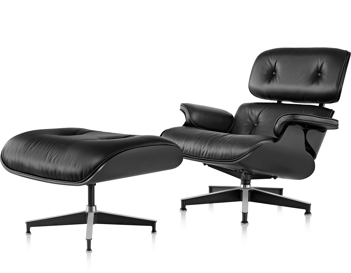 Ebony eames lounge chair ottoman for Eames lounge sessel nachbau