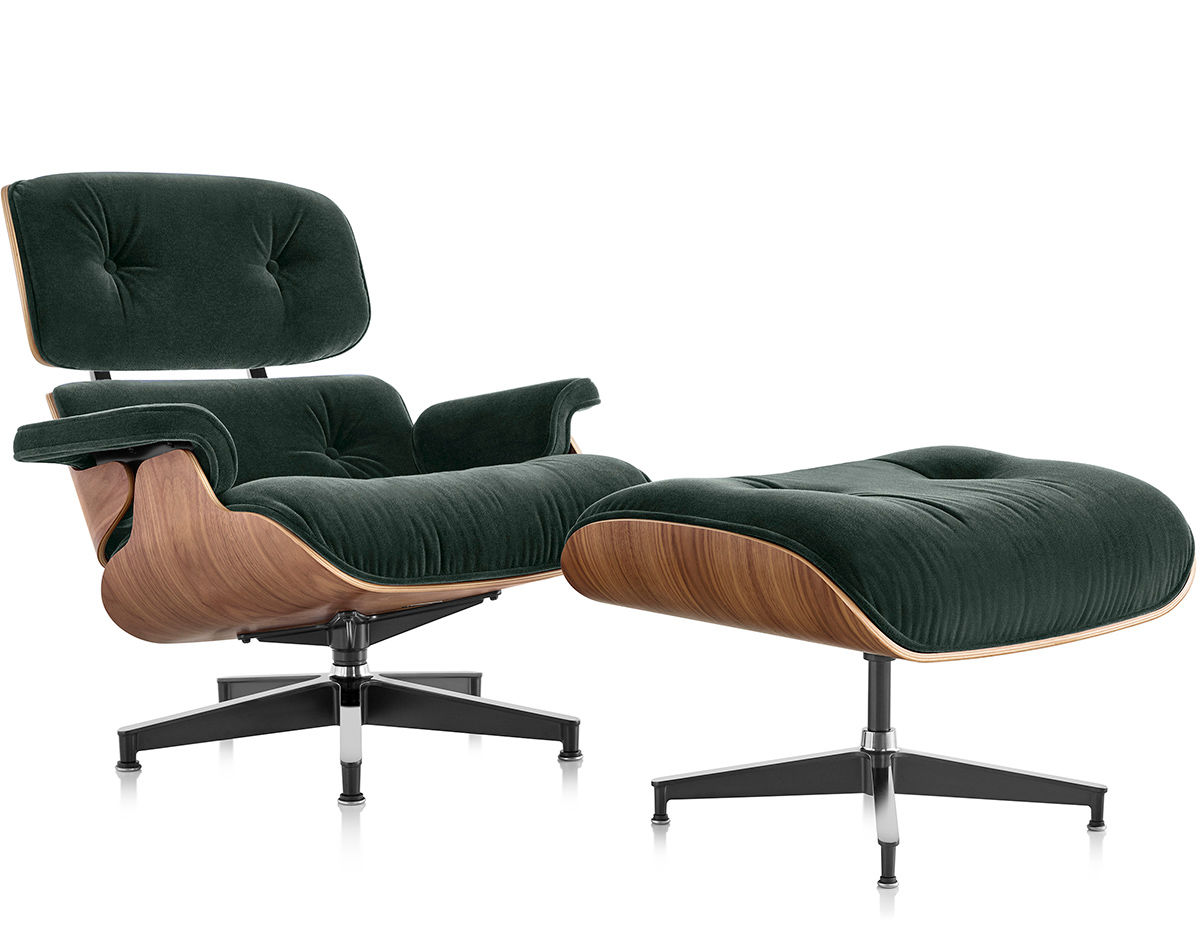 eames lounge chair ottoman in mohair supreme. Black Bedroom Furniture Sets. Home Design Ideas