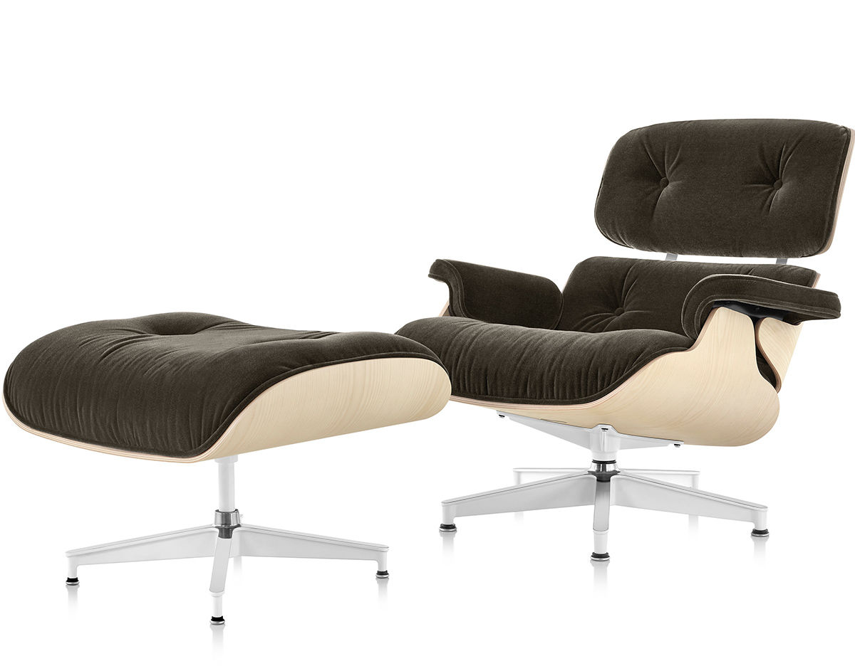 Eames Lounge Chair Ottoman In Mohair Supreme