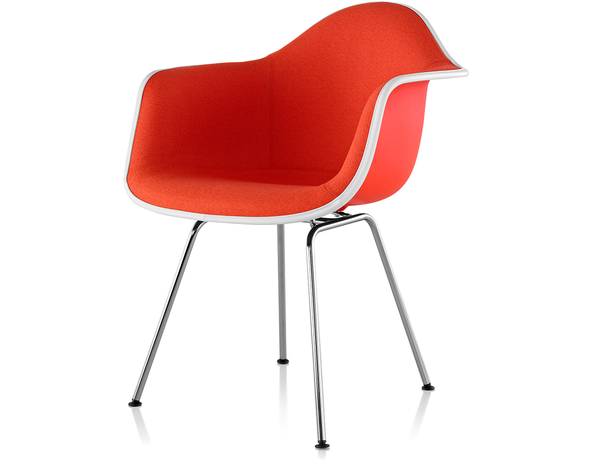 Orange Plastic Chair eames® upholstered armchair with 4 leg base - hivemodern