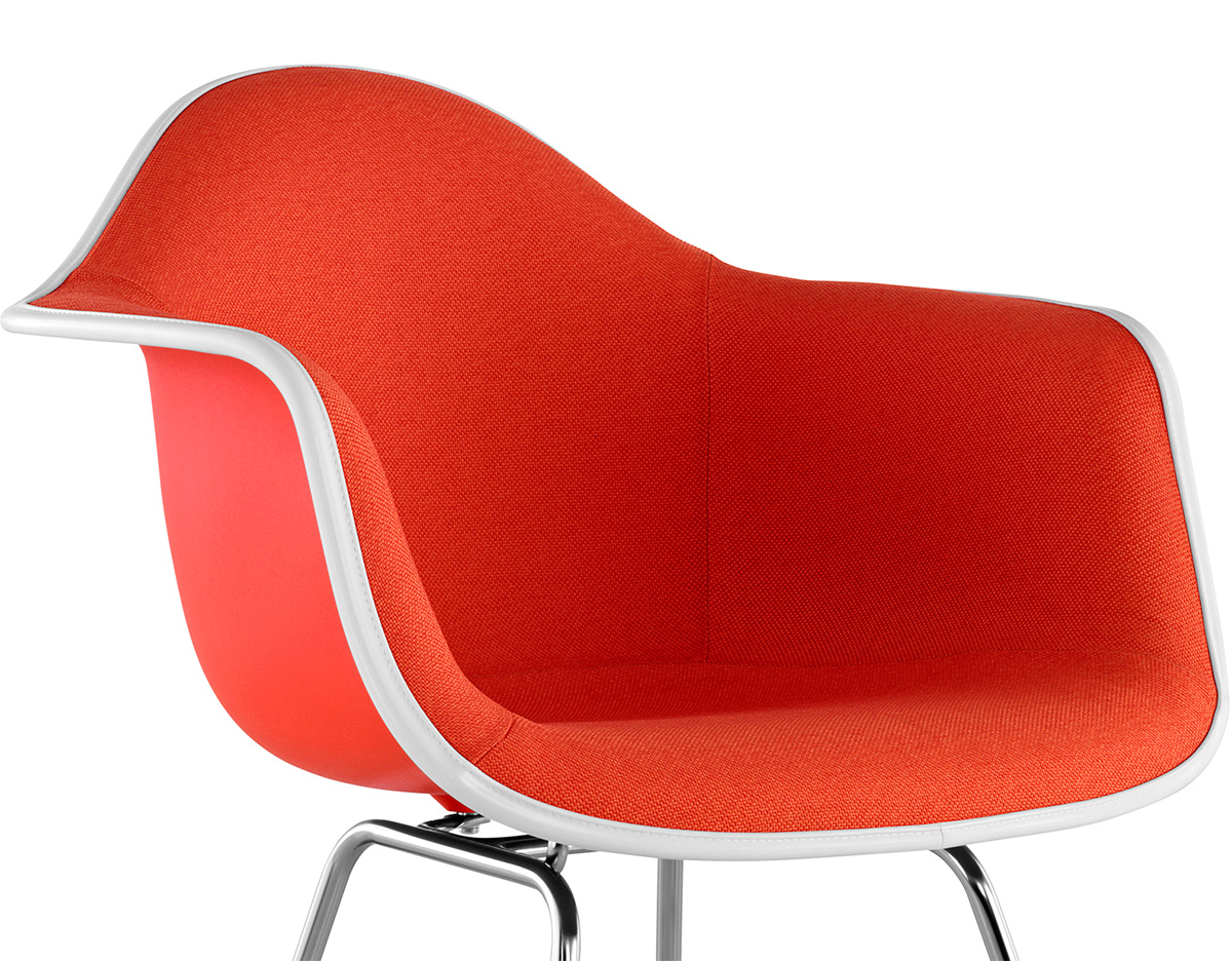 eames upholstered armchair with 4 leg base