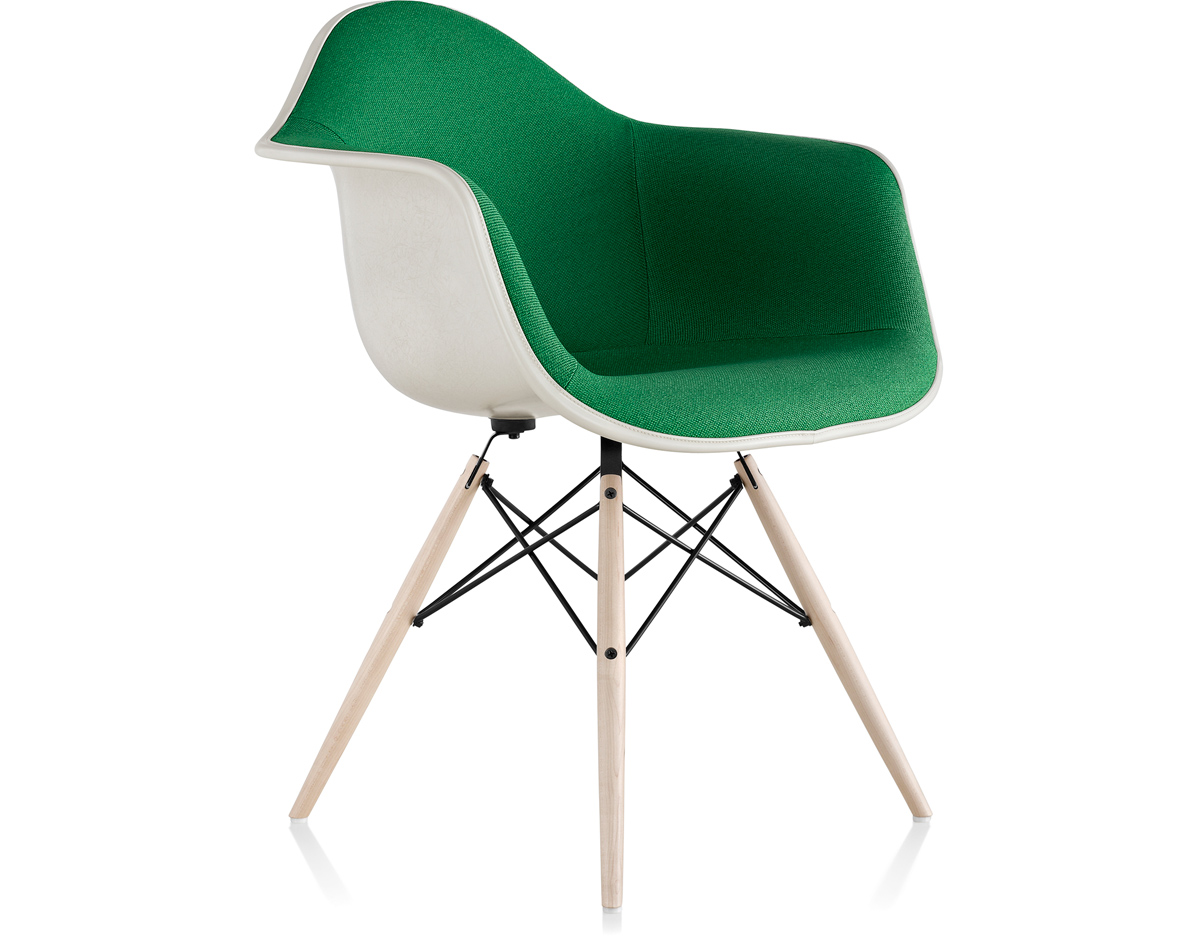 Eames® Upholstered Armchair With Dowel Base - hivemodern.com