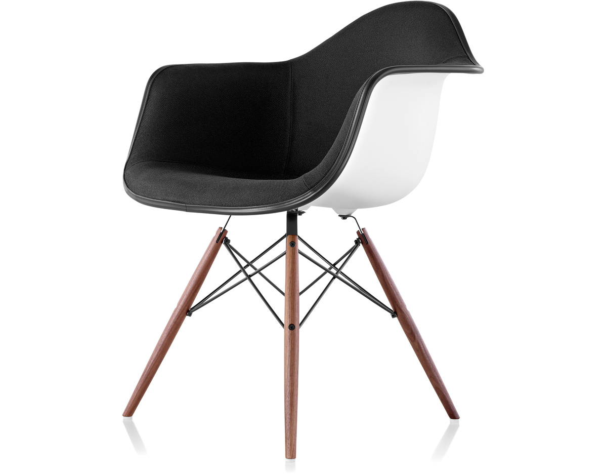 Herman Miller Eames Molded Plastic Chair eames® upholstered armchair with dowel base - hivemodern