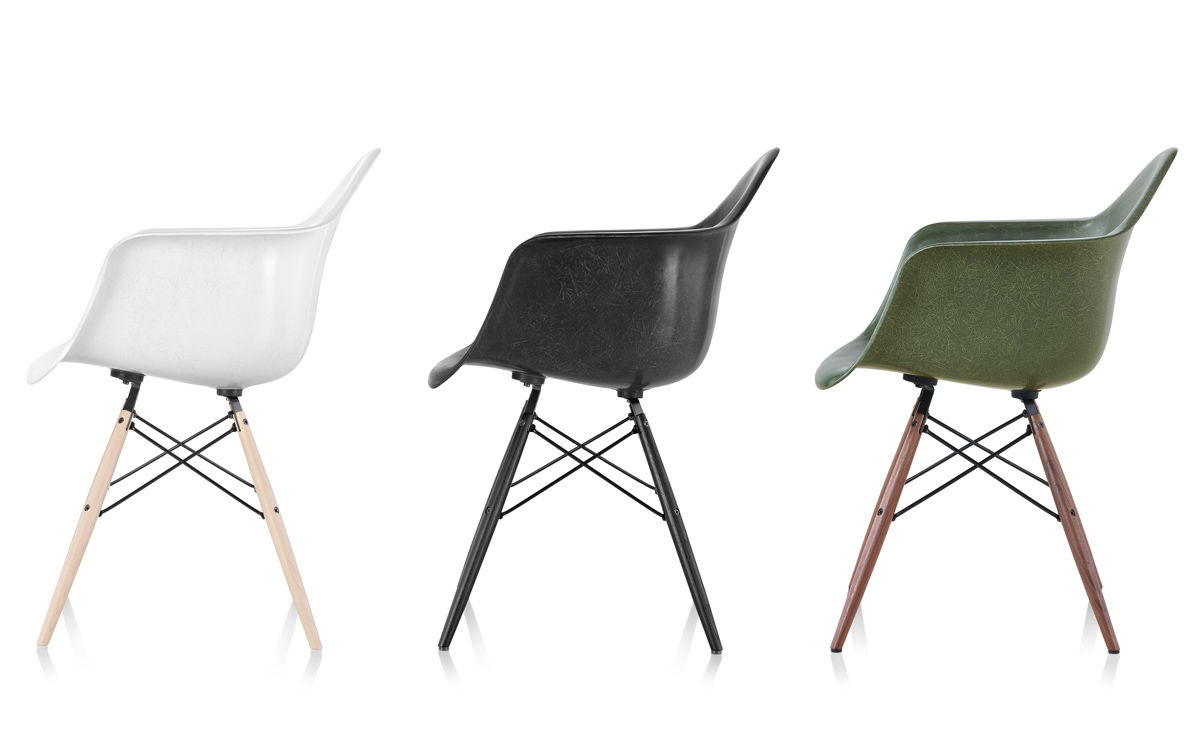 eames® molded fiberglass armchair with dowel base