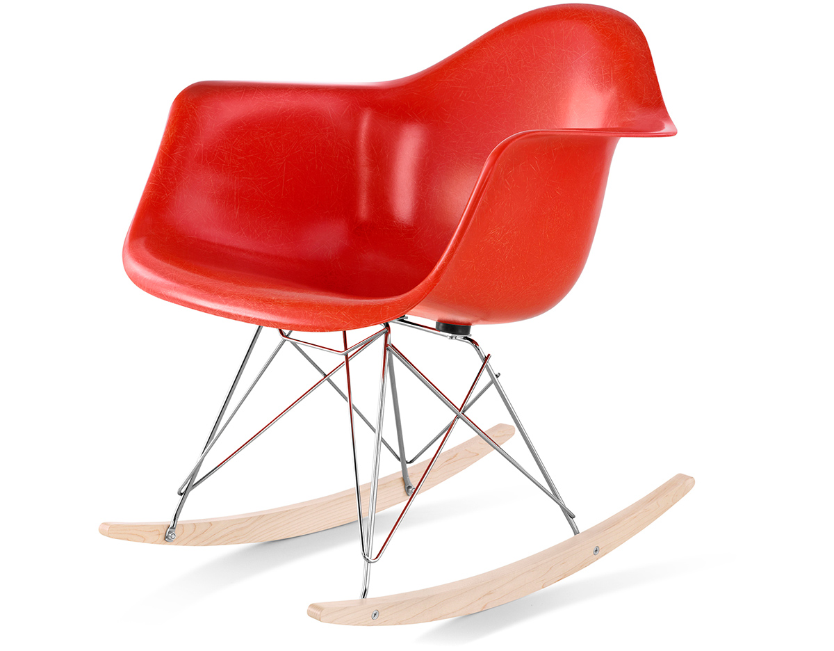 eames® molded fiberglass armchair with rocker base  hivemoderncom - overview