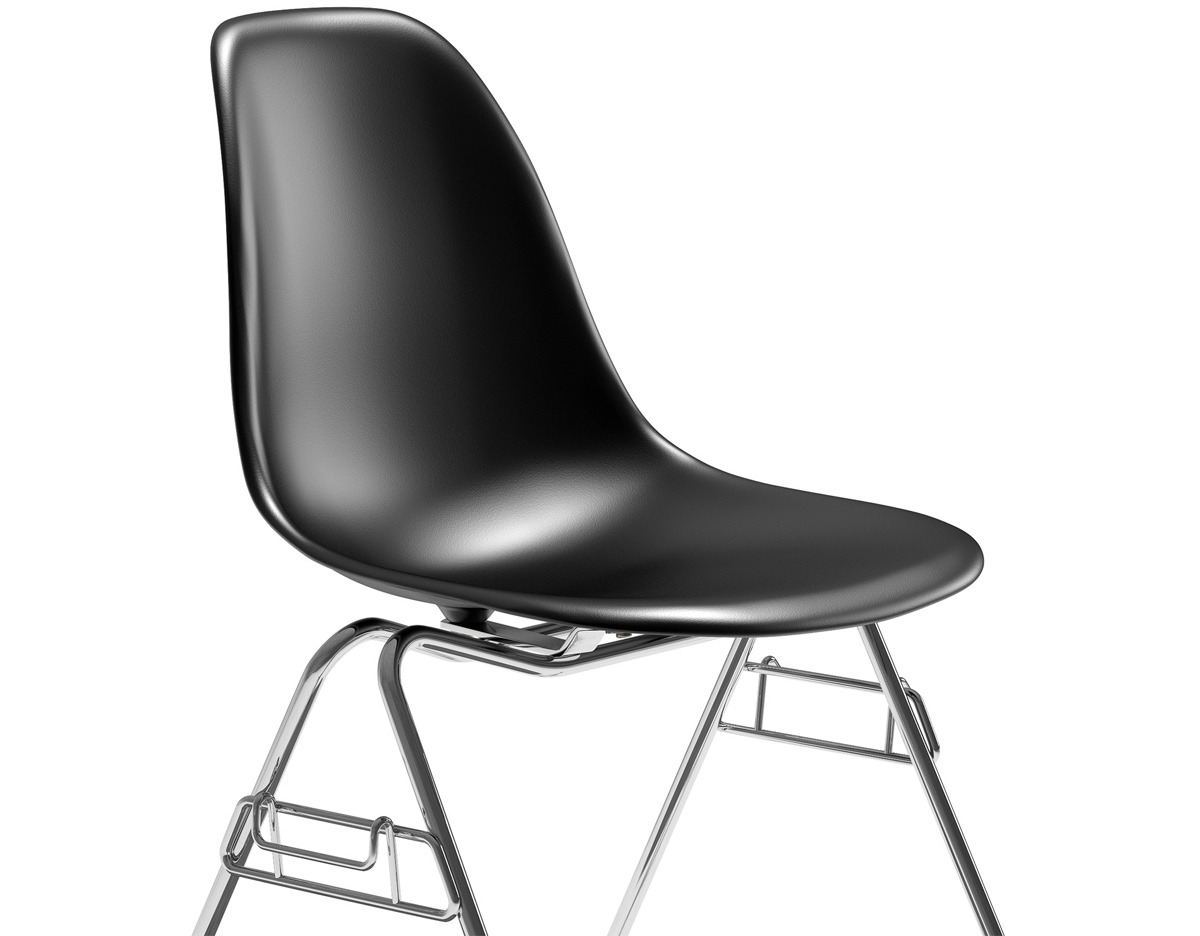 eames molded plastic side chair with stacking base. Black Bedroom Furniture Sets. Home Design Ideas