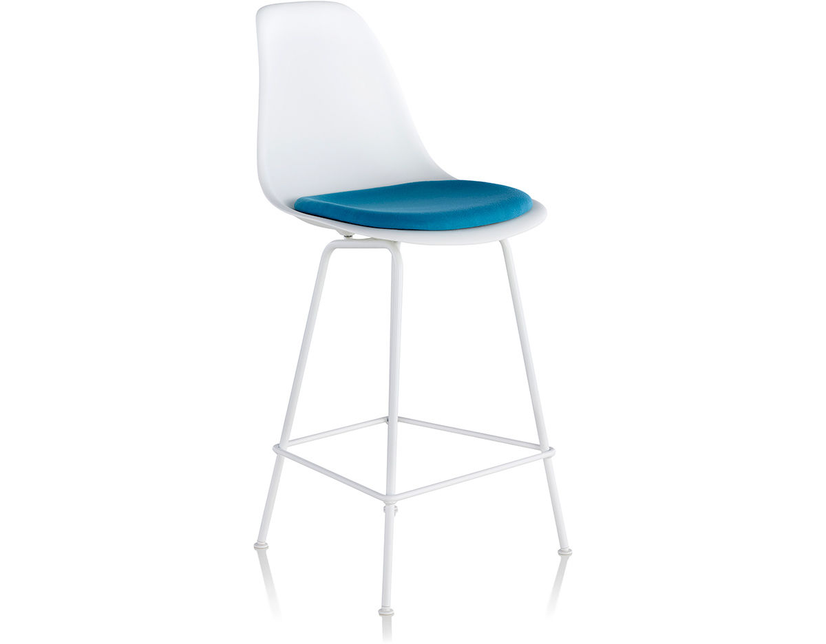 Herman Miller Eames Molded Plastic Chair eames® molded plastic stool with seat pad - hivemodern