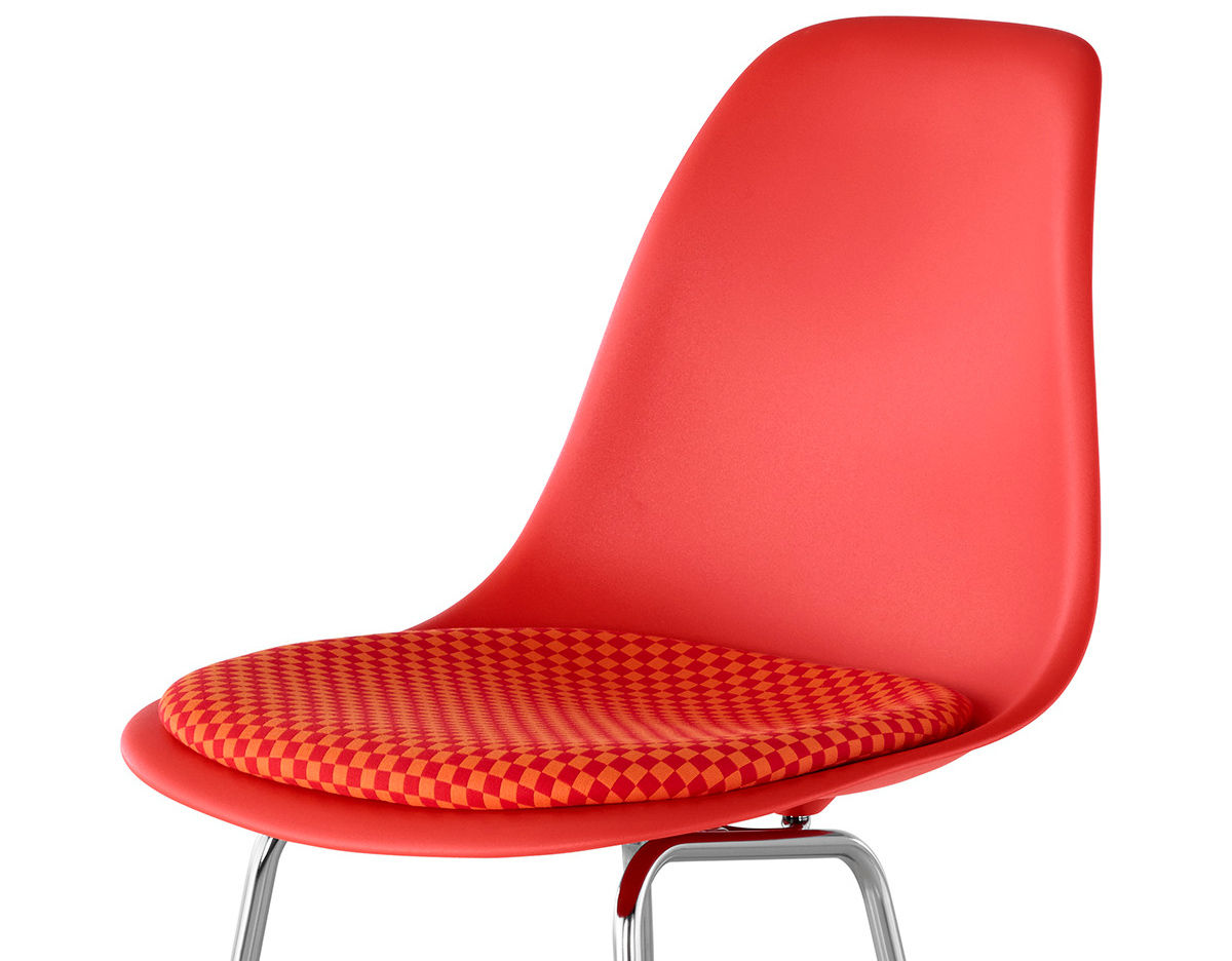 Orange Plastic Chair eames® molded plastic stool with seat pad - hivemodern