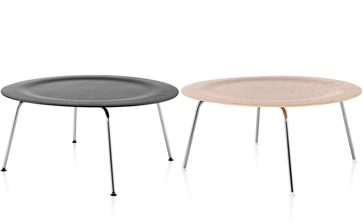 eames molded plywood coffee table with metal base - hivemodern