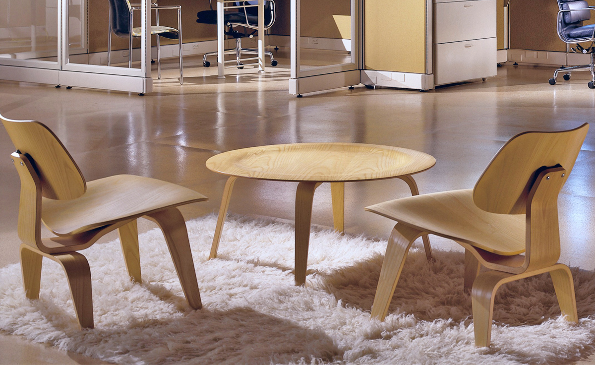 Eames Molded Plywood Coffee Table With Wood Base hivemoderncom