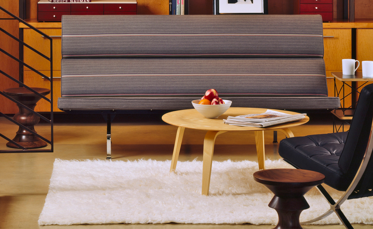 Eames molded plywood coffee table with wood base for Modern hive