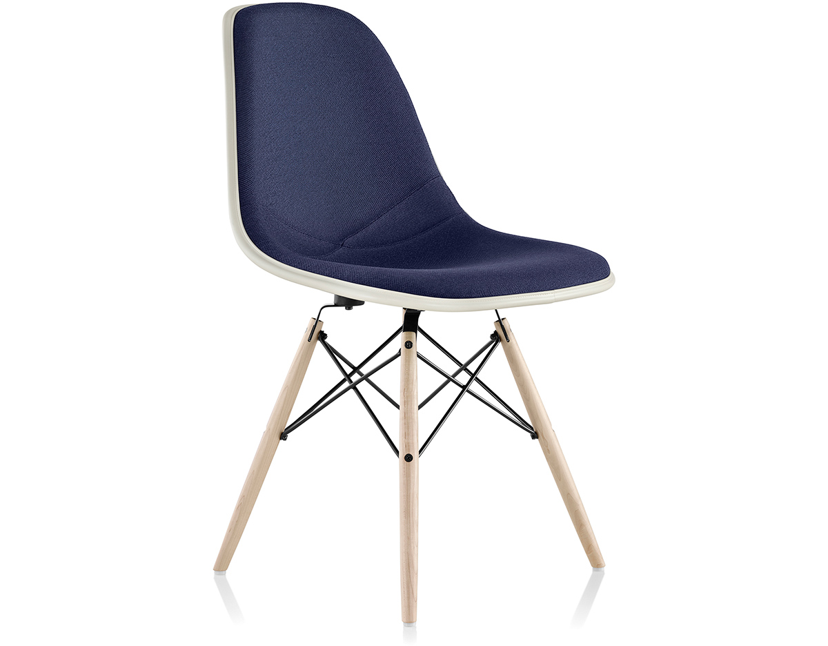 eames upholstered side chair with dowel base
