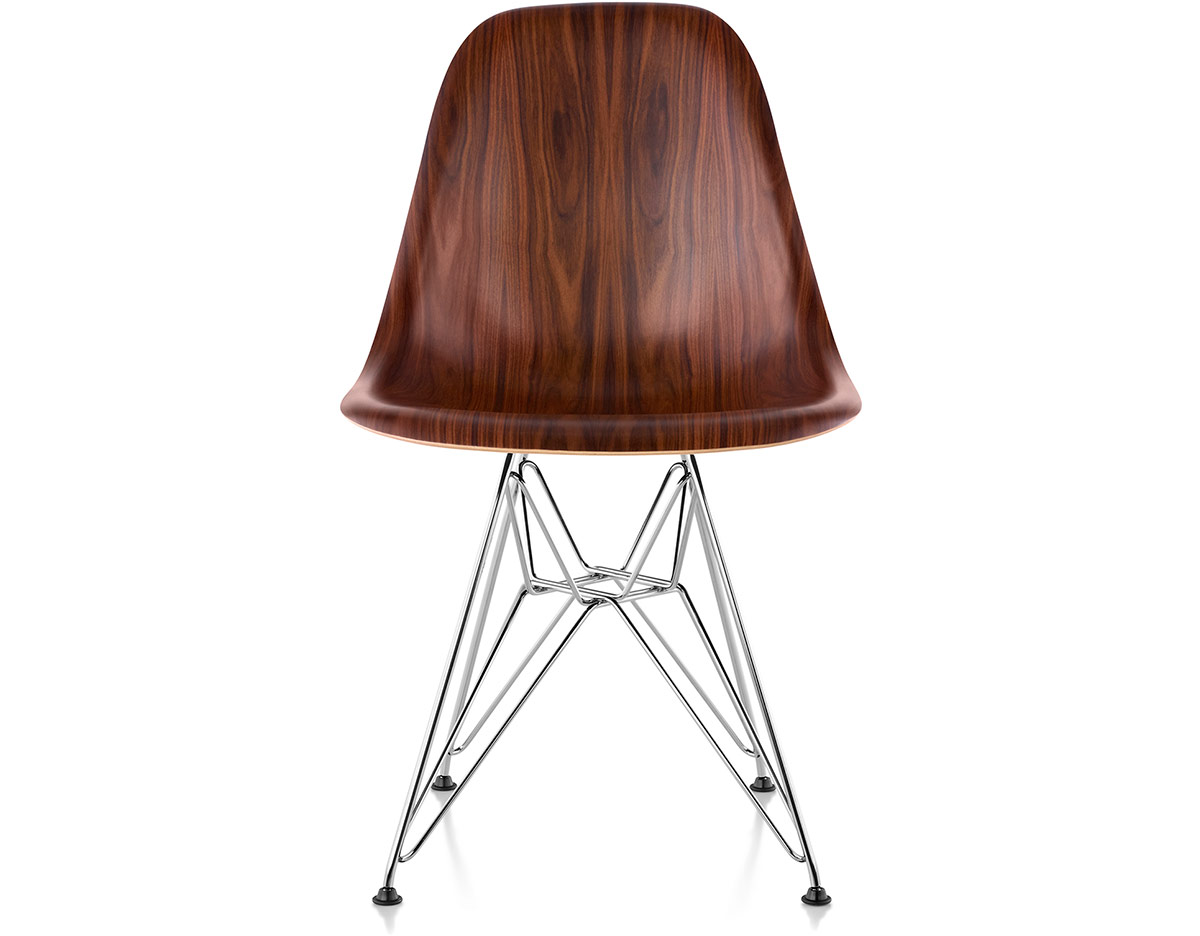 eames molded wood side chair with wire base
