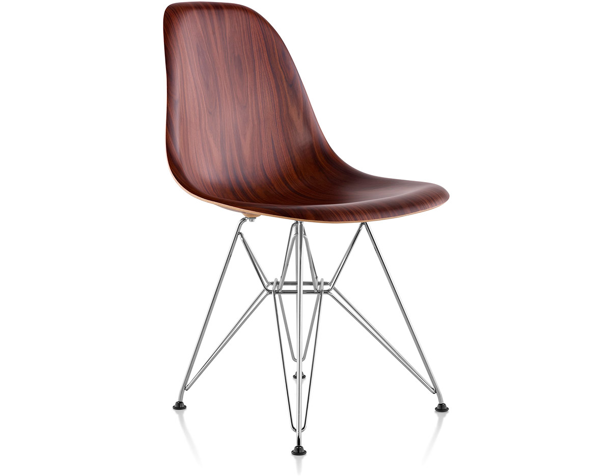 Eames 174 Molded Wood Side Chair With Wire Base Hivemodern Com