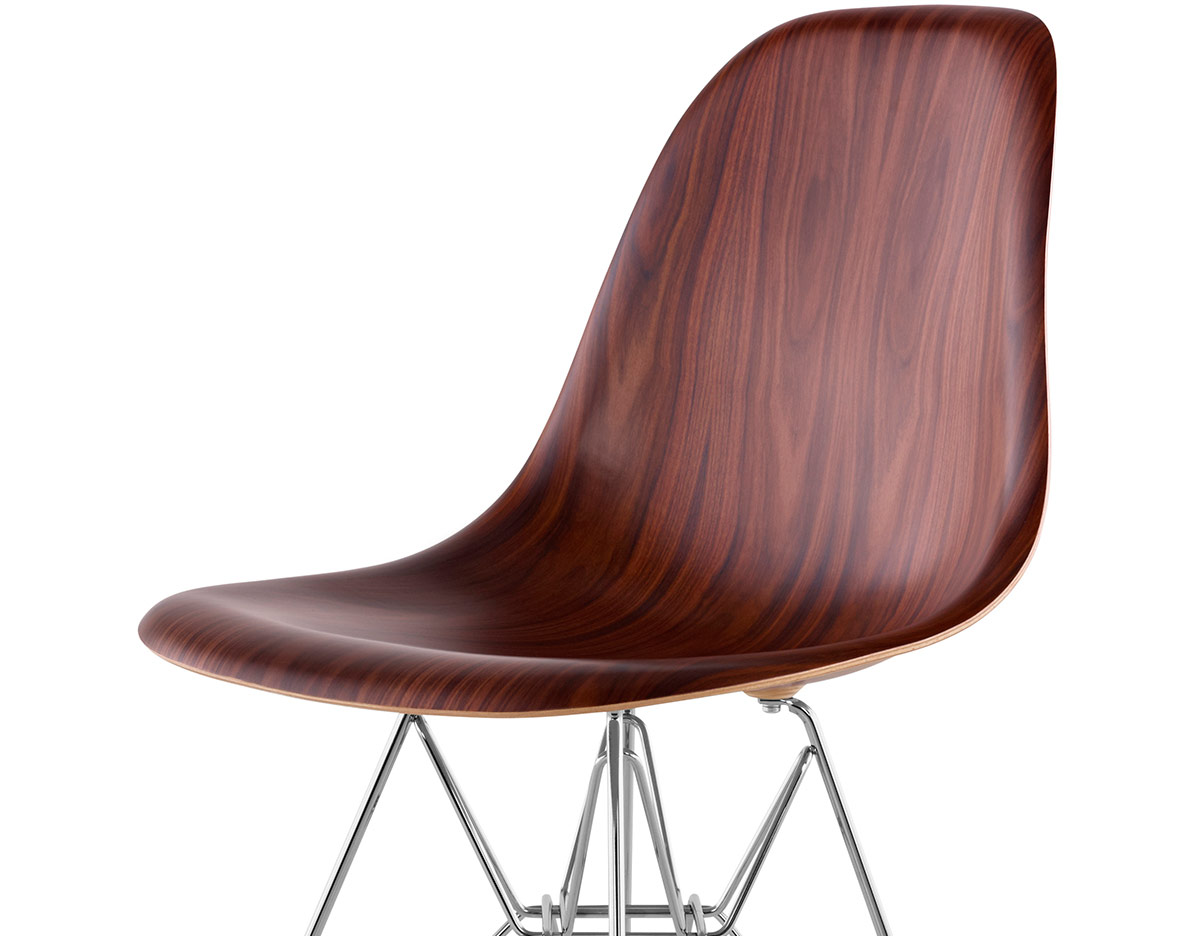 eames molded wood side chair with wire base. Black Bedroom Furniture Sets. Home Design Ideas