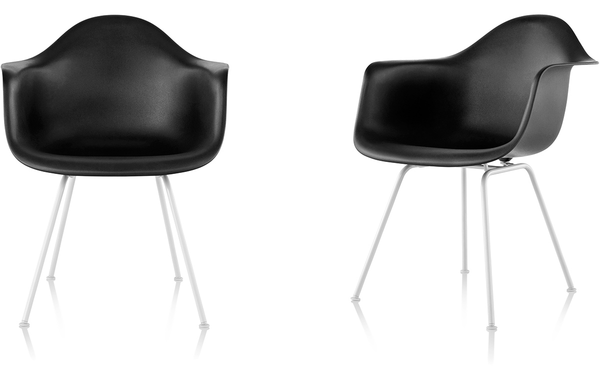 Eames molded plastic armchair with 4 leg base - Herman miller bucket chair ...
