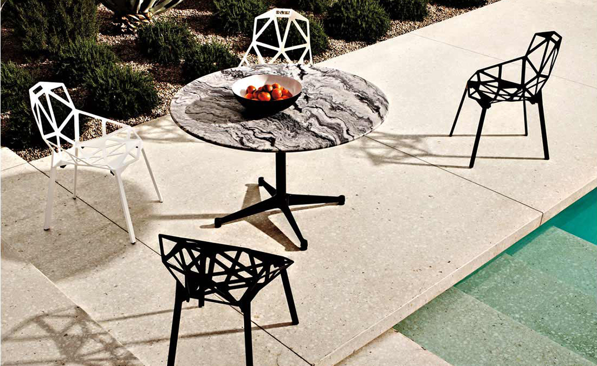 eames round contract base outdoor table. Black Bedroom Furniture Sets. Home Design Ideas