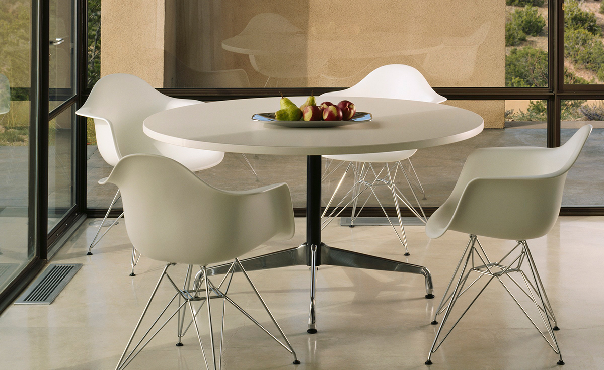 Round Formica Table Eames Round Table With Laminate Top Edge Hivemoderncom