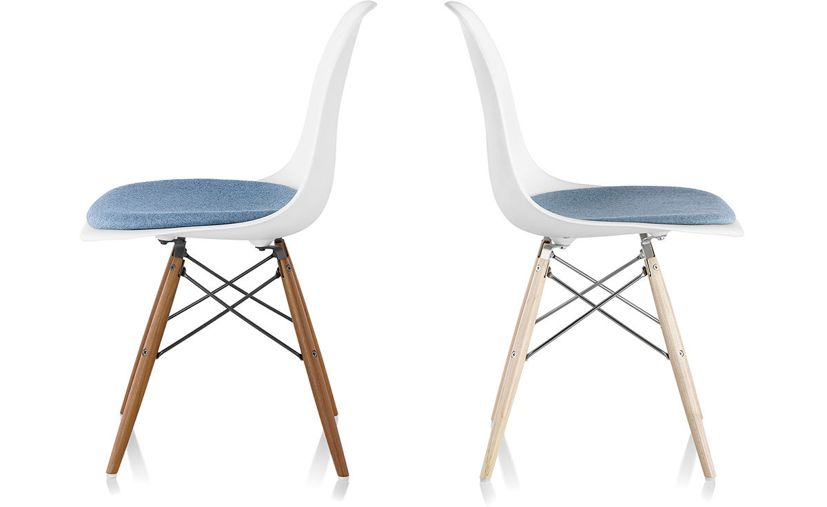 Eames Dowel Base Side Chair With Seat, Eames Side Chair Cushion