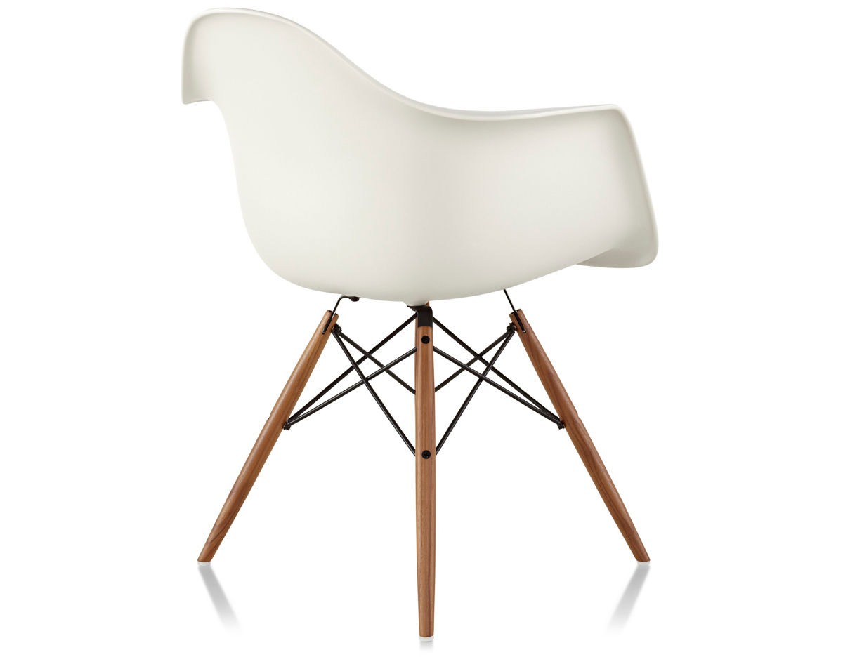 eames® molded plastic armchair with dowel base - hivemodern