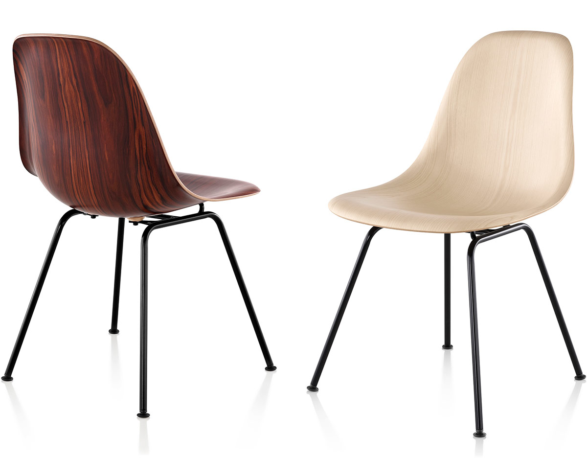 Eames molded wood side chair with leg base hivemodern