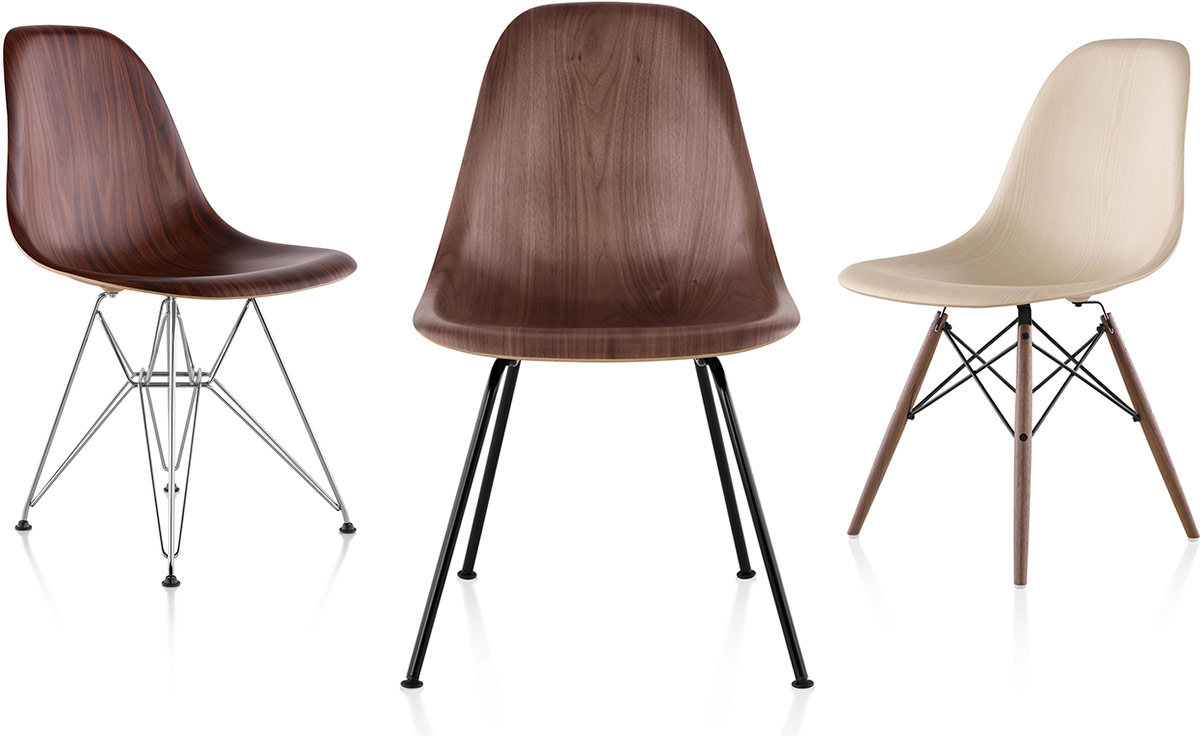eames molded wood side chair with 4 leg base