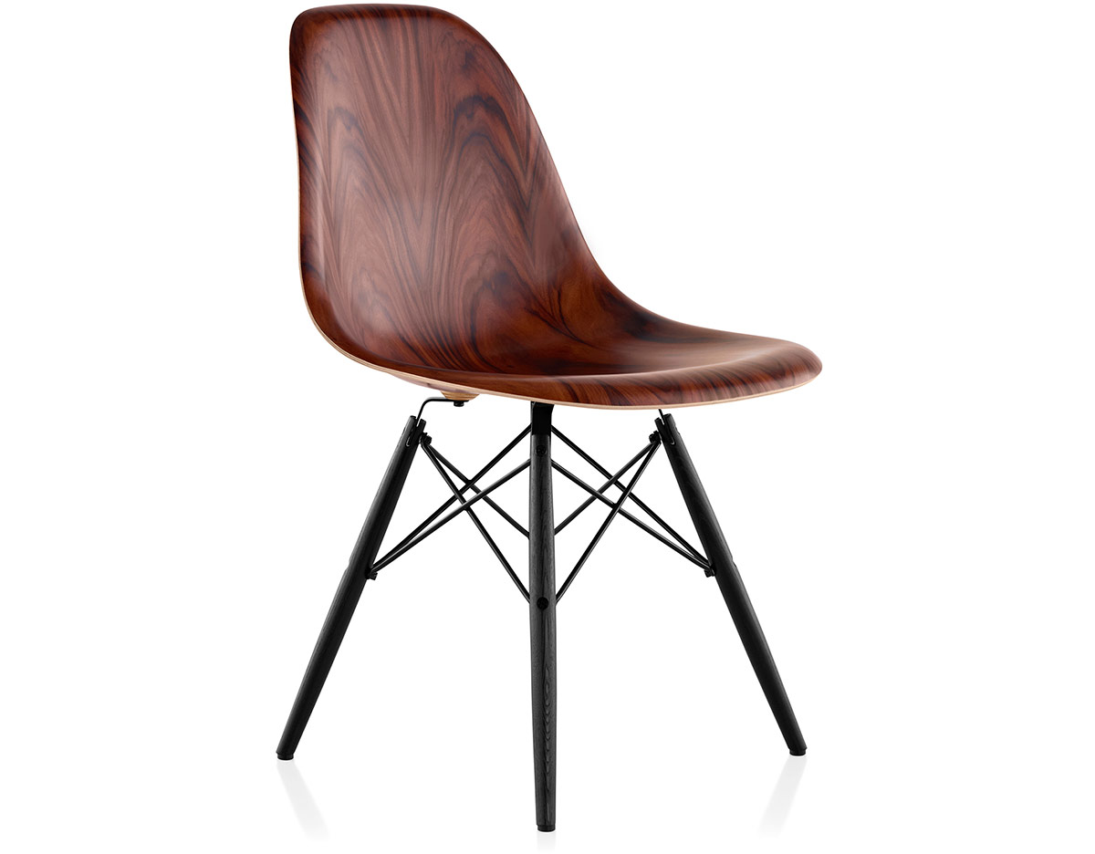 eames molded wood side chair with dowel base. Black Bedroom Furniture Sets. Home Design Ideas