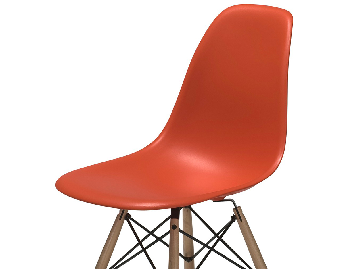 Orange Plastic Chair eames® molded plastic side chair with dowel base - hivemodern