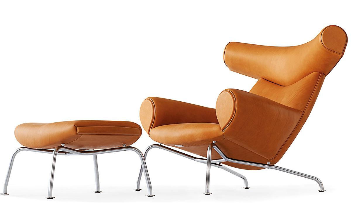 Hans wegner ej100 ox chair ottoman for Hans wegner queen chair