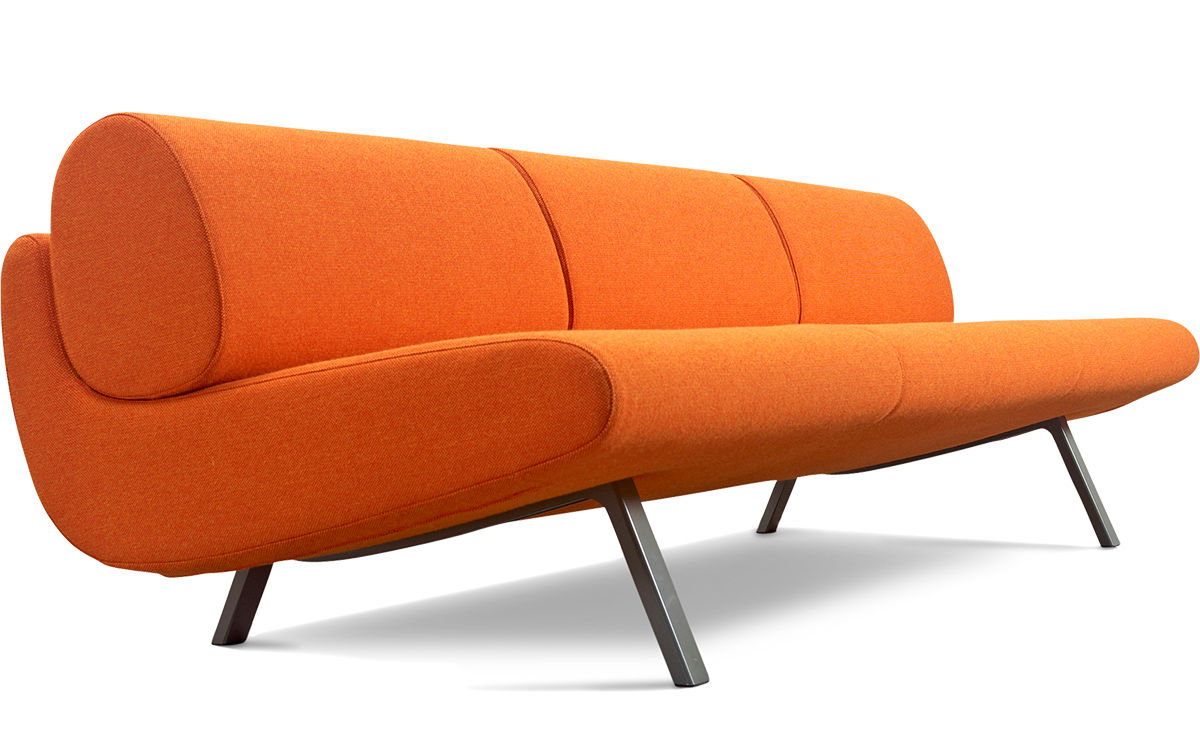 Modern Low Sofa : In Duplo Ej180-3 Low 3 Seat Sofa - hivemodern.com