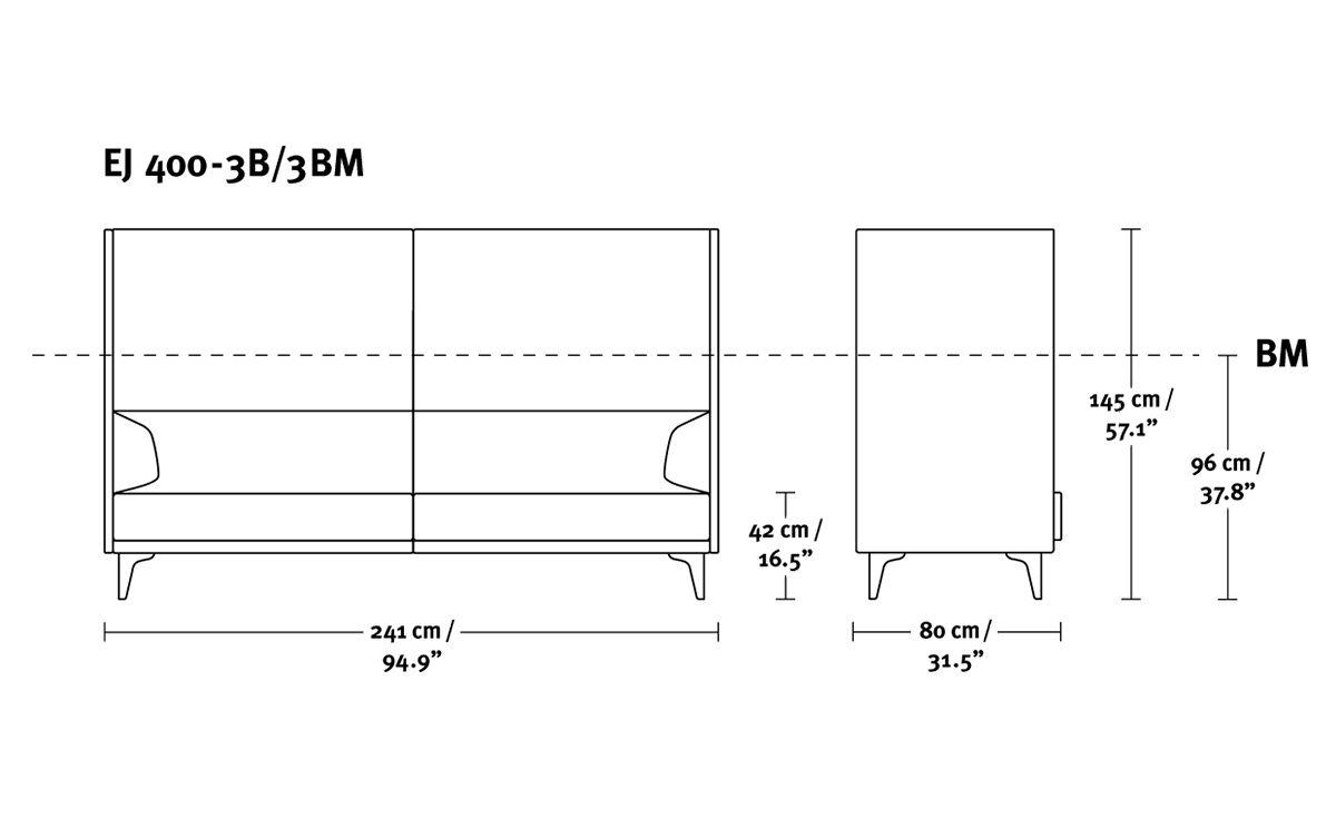 Ej400 Apoluna Box High Back 3 Seat Sofa