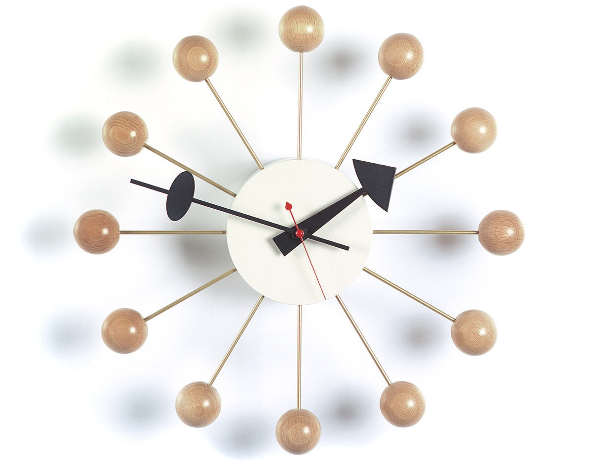 george nelson ball clock in natural beech. Black Bedroom Furniture Sets. Home Design Ideas
