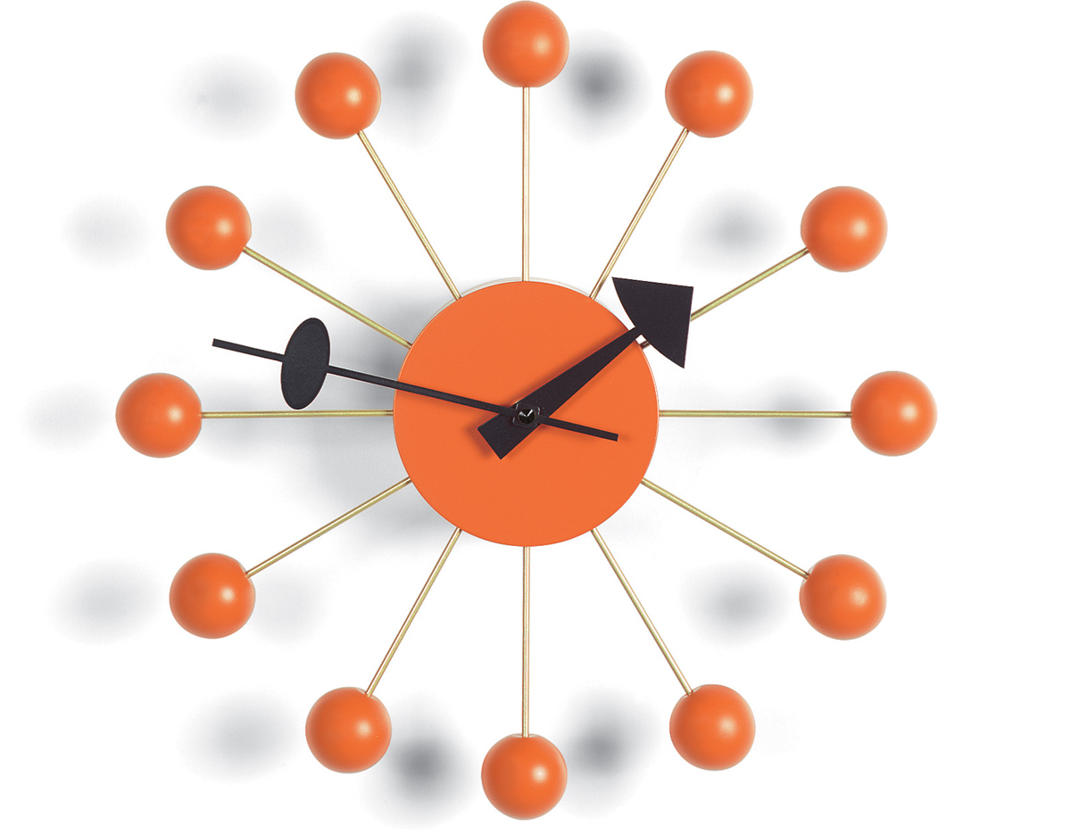 George nelson ball clock in orange for Nelson wall clock