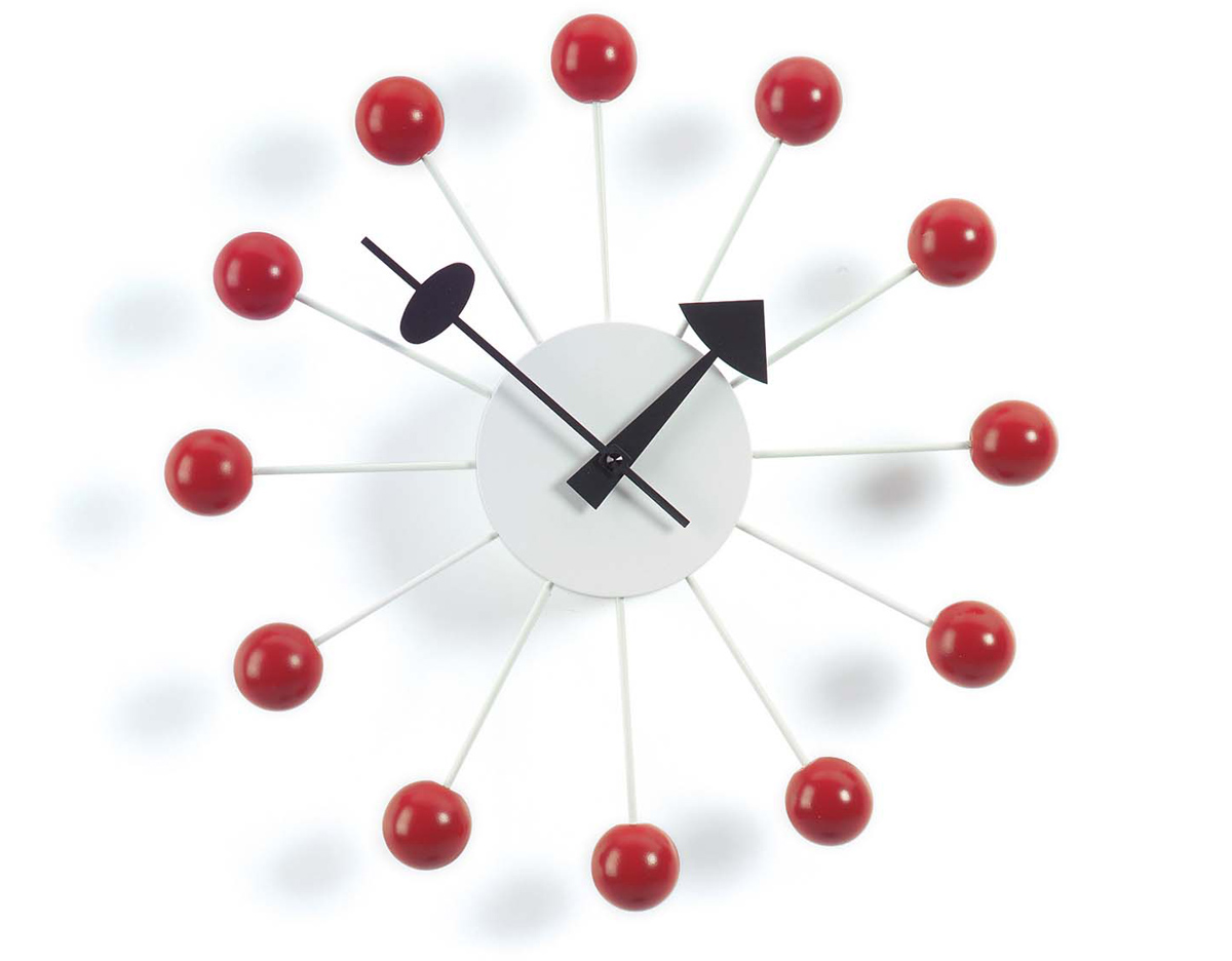 George Nelson Ball Clock In Red Hivemodern Com