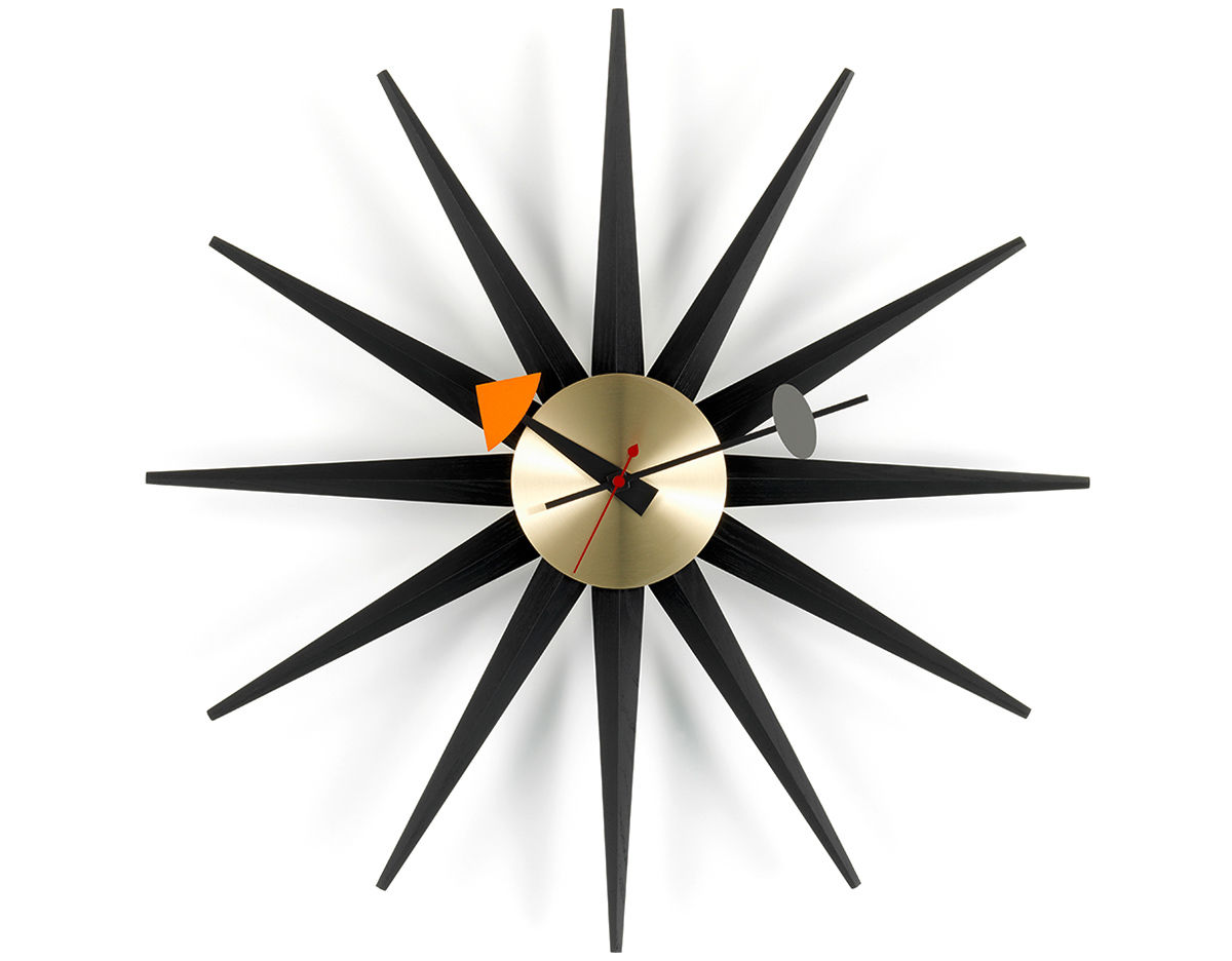 george nelson sunburst clock black brass. Black Bedroom Furniture Sets. Home Design Ideas