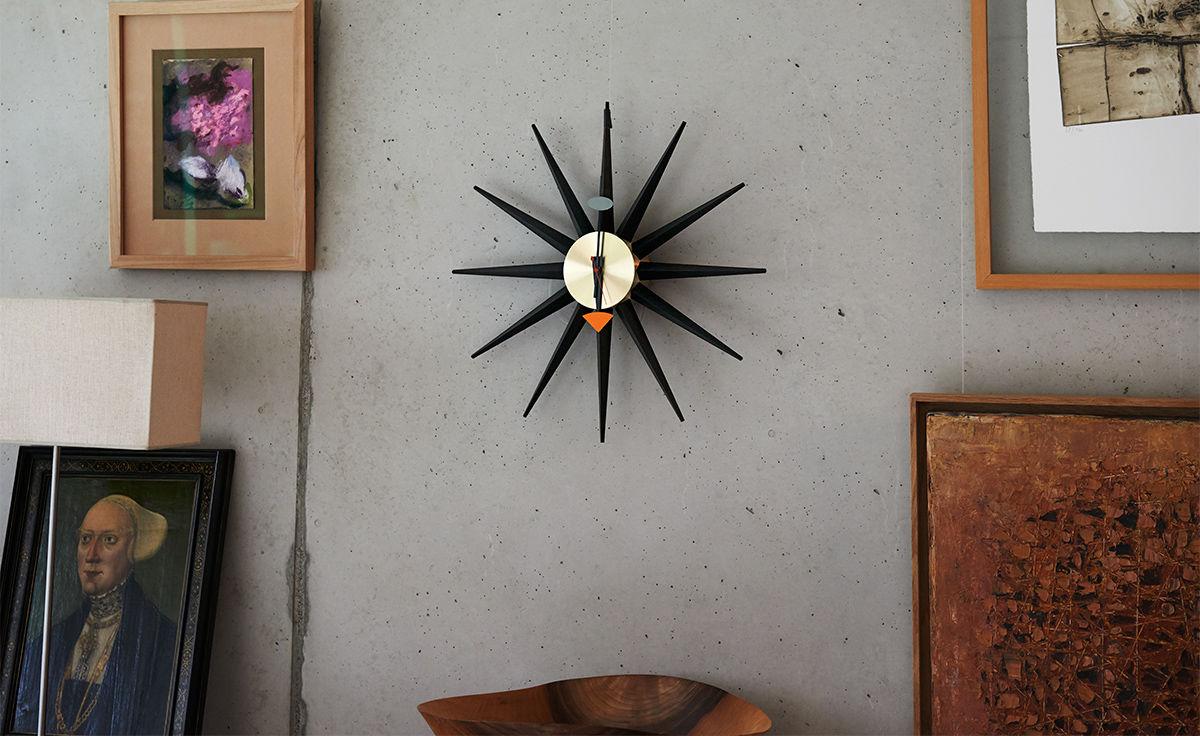 George Nelson Sunburst Clock Black Brass Hivemodern Com