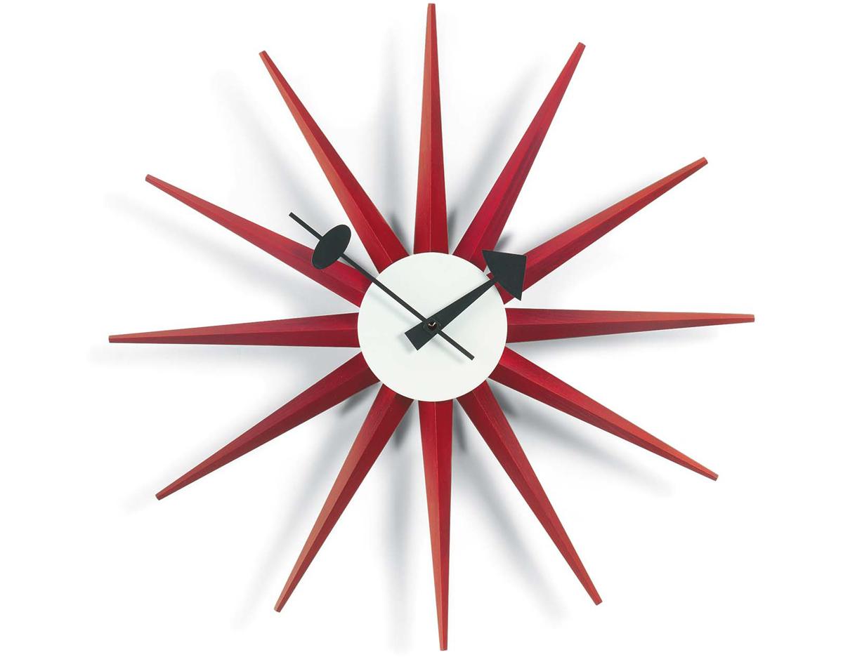 george nelson sunburst clock red. Black Bedroom Furniture Sets. Home Design Ideas