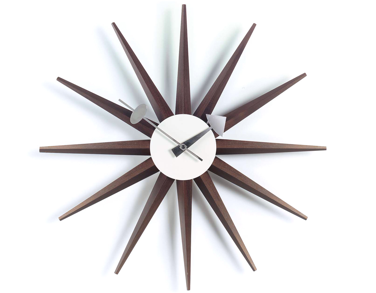 george nelson sunburst clock walnut. Black Bedroom Furniture Sets. Home Design Ideas