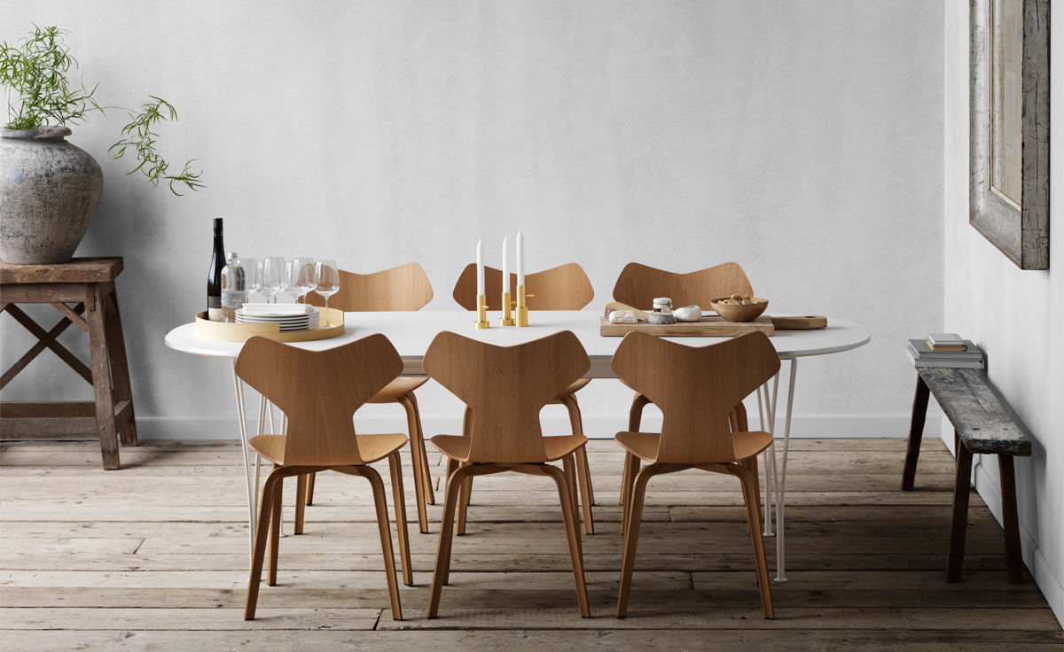 Sedie Serie 7 Fritz Hansen.Grand Prix Chair With Wood Legs Hivemodern Com