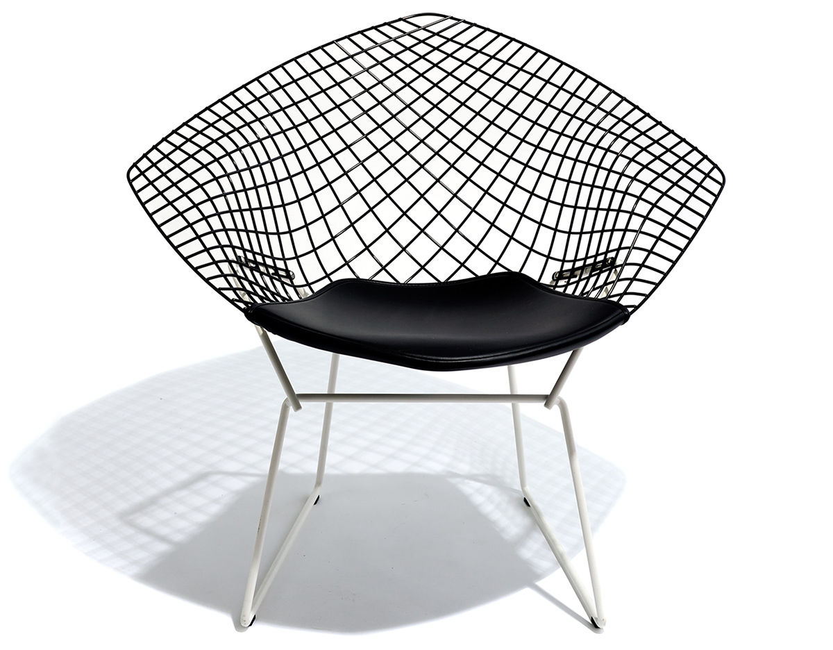 bertoia diamond chair two tone with seat cushion. Black Bedroom Furniture Sets. Home Design Ideas