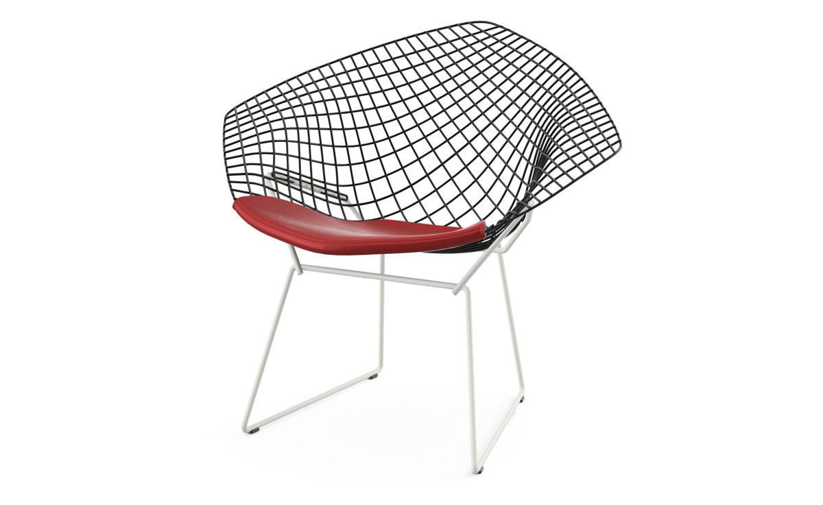 bertoia diamond chair two tone with seat cushion  hivemoderncom - overview