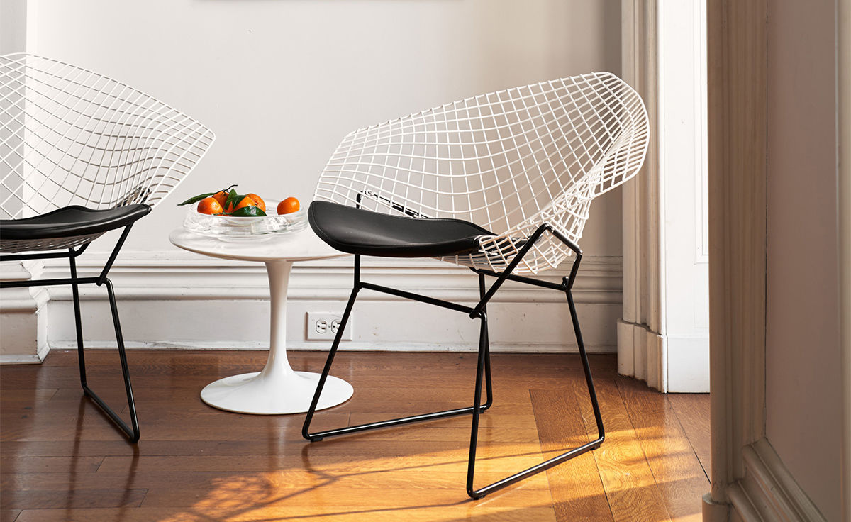 Bertoia Diamond Chair Two Tone With Seat Cushion Hivemoderncom
