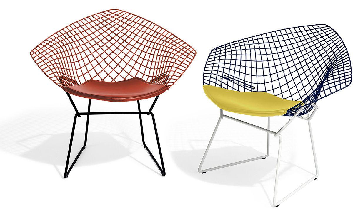 bertoia diamond chair two tone with seat cushion - hivemodern