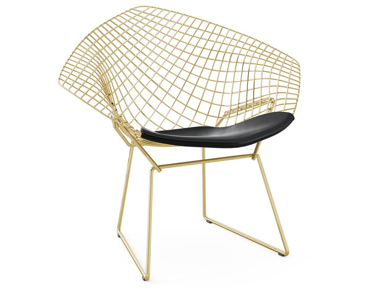 Bertoia Gold Plated Small Diamond Chair With Seat Cushion hivemodern