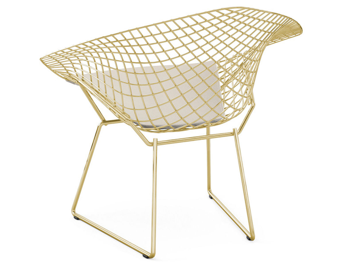 Bertoia Gold Plated Small Diamond Chair With Seat Cushion  : harry bertoia gold diamond chair knoll 2 from hivemodern.com size 1200 x 936 jpeg 127kB